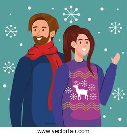 man and woman with merry christmas sweaters vector design