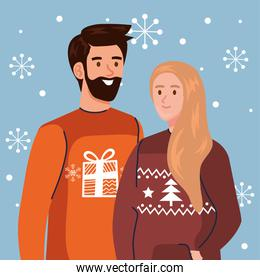 woman and man with merry christmas sweaters vector design