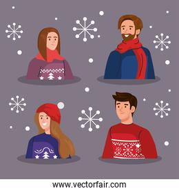 people with merry christmas sweaters