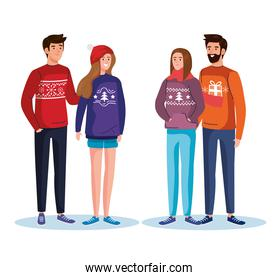 group people with merry christmas sweaters vector design
