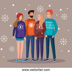men and women with merry christmas sweaters vector design