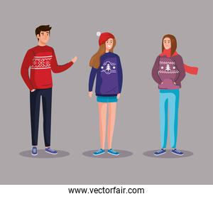 people with merry christmas sweaters vector design