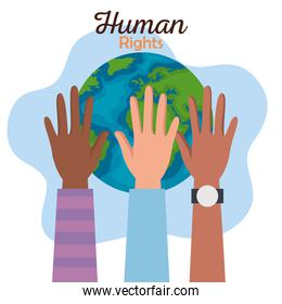 Human rights with diversity hands and world vector design