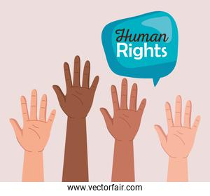 Human rights with diversity hands and bubble vector design