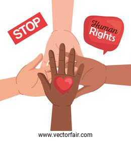 Human rights with diversity hands heart and bubble vector design