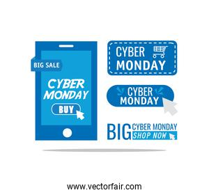 cyber monday letterings in smartphone