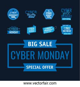bundle of eight cyber monday banners