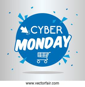 cyber monday lettering in circular seal with shopping cart
