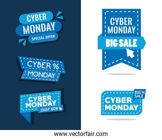 bundle of five cyber monday banners