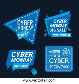 bundle of four cyber monday banners in blue background