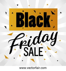 black friday sale lettering in golden banner and confetti