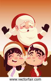 merry christmas santa claus with girl and boy celebration