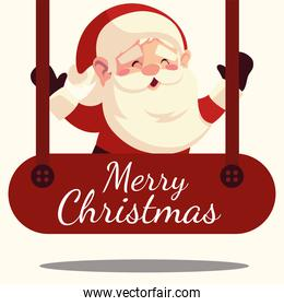 merry christmas santa claus in hanging lettering decoration
