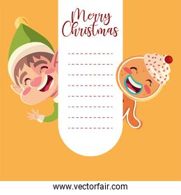 merry christmas greeting card with helper and gingerbread man