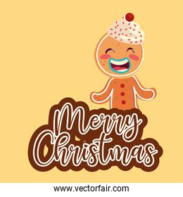 merry christmas gingerbread man with cream in head cartoon