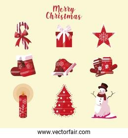 merry christmas icons collection candy hat star sock bell tree