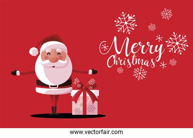 merry christmas cute santa claus with gift box and snowflakes card