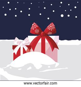 merry christmas wrapped gift boxes in the snow scene