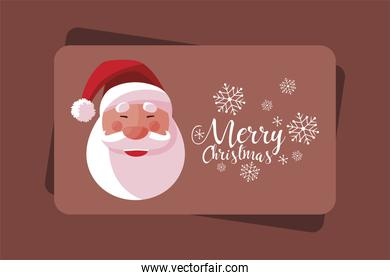 merry christmas greeting card with santa face and snowflakes
