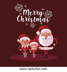 merry christmas cute santa and helpers characters card