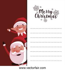 merry christmas santa claus and elf greeting card
