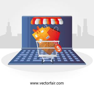 online shopping, laptop computer technology cart with gift and bag