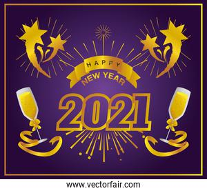 happy new year 2021 greeting card golden number champagne stars purple background