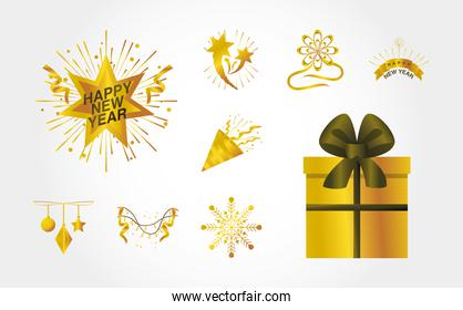 happy new year 2021 golden gift box confetti serpentine fireworks snowflake icons