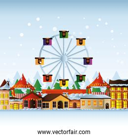 merry christmas houses wheel ferris with decorative lights and snow