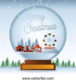 merry christmas snowball with houses wheel ferris pine trees scene winter