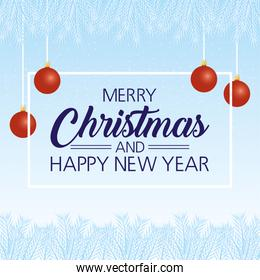 happy merry christmas and new year card with balls hanging