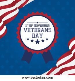happy veterans day celebration card with medal