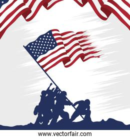 happy veterans day celebration card with soldiers lifting usa flag