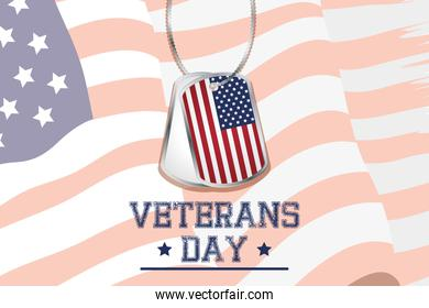 happy veterans day celebration card with medals in usa flag