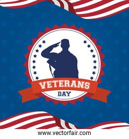 happy veterans day celebration card with soldier saludating in seal and usa flags