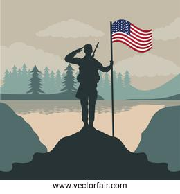 happy veterans day celebration card with soldier saludating usa flag in pole