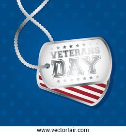 happy veterans day celebration card with medals and usa flag