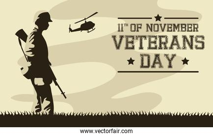 happy veterans day celebration card with soldier walking and helicopter