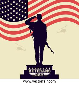happy veterans day celebration card with soldier saludating in usa flag