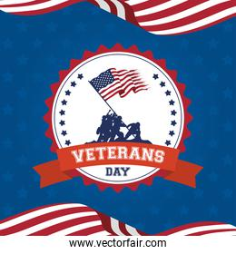 happy veterans day celebration card with soldiers lifting usa flag in seal