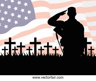 happy veterans day celebration card with soldier saludating and usa flag in cemetery