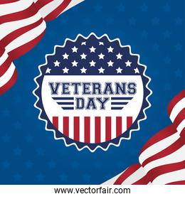 happy veterans day celebration card with usa flag in seal lace