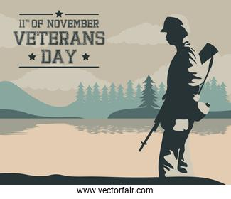 happy veterans day celebration card with soldier walking in lake scene