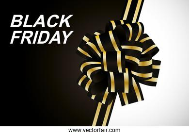 black friday lettering white with ribbon golden