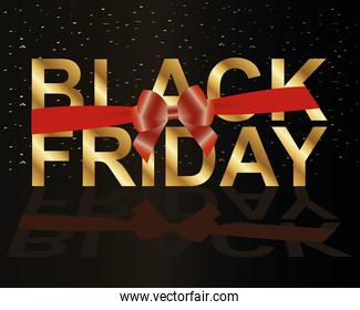 black friday lettering golden with red ribbon bow