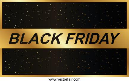 black friday ribbon golden with lettering
