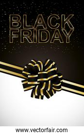 black friday lettering golden with ribbon bowtie