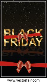 black friday lettering golden with red ribbons bows