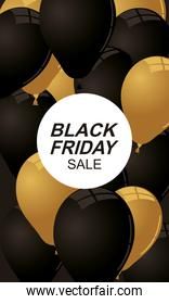 black friday lettering golden with balloons helium floating