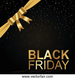 black friday lettering golden and bow ribbon